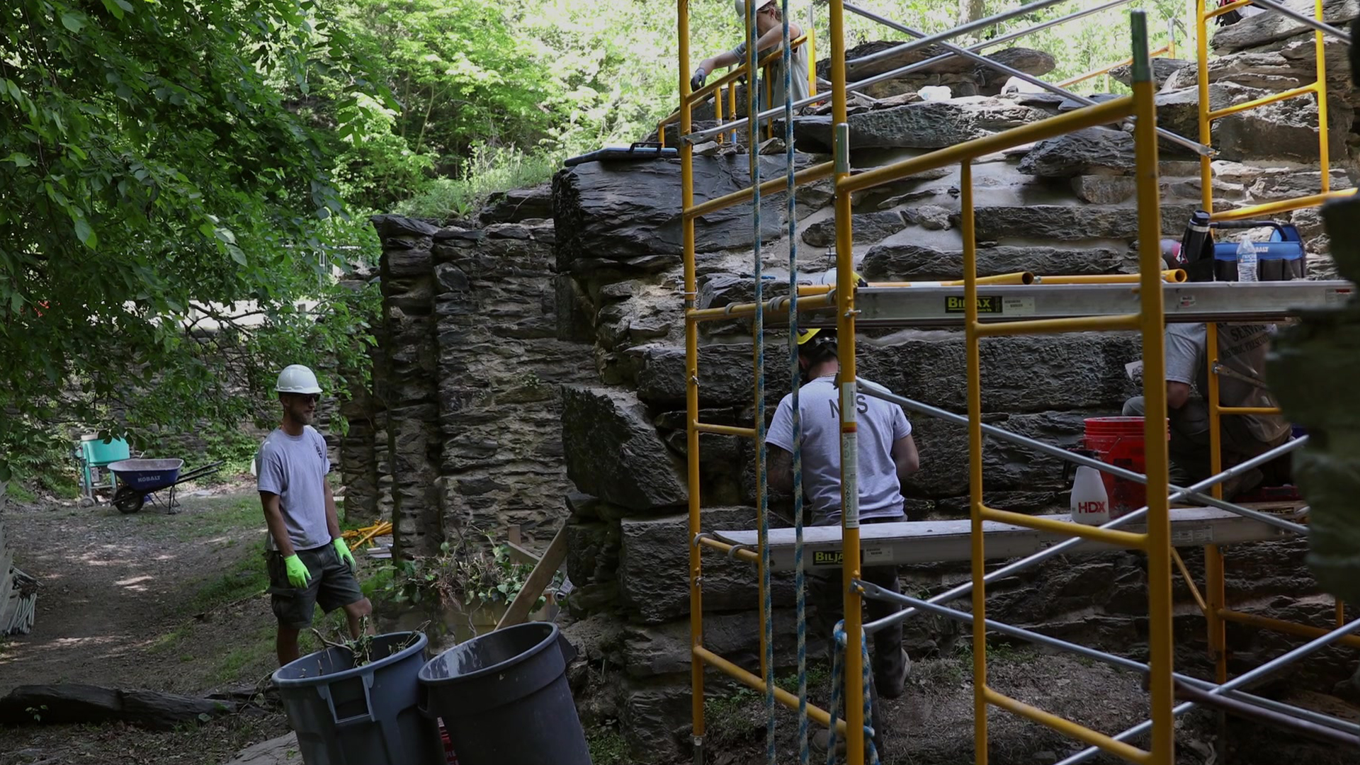 NPS employees skilled in the traditional trades work at the Pulp Mill Ruins in Harpers Ferry, WV